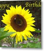 Happy Birthday - Greeting Card - Sunflower Metal Print
