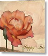 Happy Birthday Peach Rose Card Metal Print