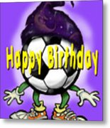 Happy Birthday Soccer Wizard Metal Print