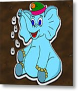 Happy Blue Elephant Gingerbread Metal Print