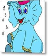 Happy Blue Elephant Metal Print