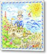 Happy Bunny Building Castle Metal Print