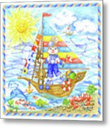 Happy Bunny On The Boat Metal Print