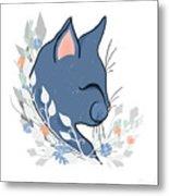 Happy Cat In The Springtime Garden Metal Print