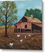 Happy Chickens Metal Print