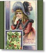 Happy Christmas Vintage Card  Metal Print