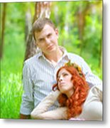 Happy Couple In A Park Metal Print
