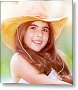Happy Cute Girl Portrait Metal Print