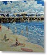 Happy Day At Santa Monica Beach And Pier Metal Print