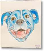 Happy Dog Blue Metal Print