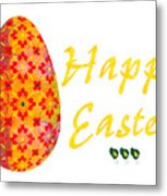 Happy Easter Abstract Greeting Card Art By Omaste Witkowski  Metal Print