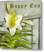 Happy Easter Lily Metal Print