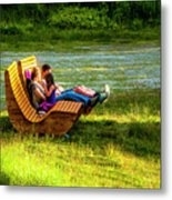 Young Family Enjoying The Swiss Country Side Metal Print
