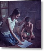 Happy Family Sisters And Brothers Read Books In The Evening At H Metal Print