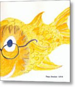 Happy Fish With Glasses Metal Print