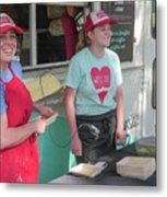 Happy Food Truck Workers Metal Print
