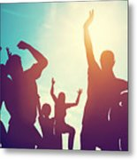 Happy Friends Family Jumping Together Having Fun Metal Print