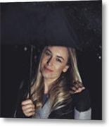 Happy Girl At Rainy Night Outdoors Metal Print