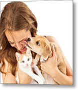Happy Girl With Kitten And Affectionate Puppy Metal Print