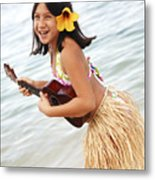 Happy Girl With Ukulele Metal Print by Brandon Tabiolo - Printscapes