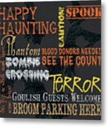 Happy Haunting Typography Metal Print