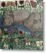 Happy Hippos Metal Print