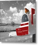Happy Holidays Mail Metal Print