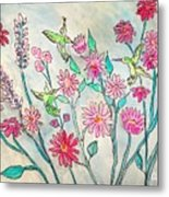 Happy Hummingbirds Metal Print