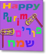 Happy Joyous Purim In Hebrew And English Metal Print