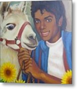 Happy Michael Jackson With His Pet Llama  Metal Print