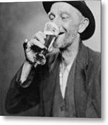 Happy Old Man Drinking Glass Of Beer Metal Print by Everett
