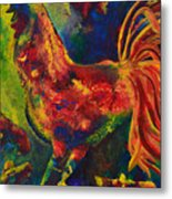 Happy Rooster Family Metal Print