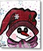 Happy Snowmen Metal Print