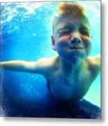 Happy Under Water Pool Boy Square Metal Print