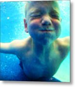 Happy Under Water Pool Boy Vertical Metal Print