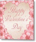 Happy Valentine Pink Heart Metal Print