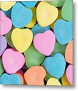 Happy Valentines Day With Colorful Heart Shaped Candies Metal Print