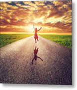 Happy Woman Jumping On Long Straight Road Metal Print