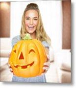 Happy Woman On Halloween Party Metal Print