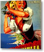 Happy Woman With Flowers, Festival In Ventimiglia, Italy Metal Print