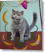Happycat Can Has Banana Phone Metal Print