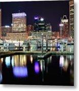 Harbor Nights In Baltimore Metal Print