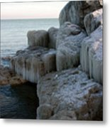 Harbor Rocks In Ice Metal Print