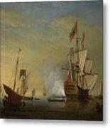 Harbor Scene An English Ship With Sails Loosened Firing A Gun Metal Print