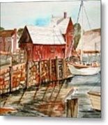 Harbor Scene New England Metal Print