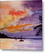 Harbor Sunset Kauai Hawaii Metal Print