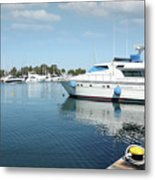 Harbor With Yacht And Boats Metal Print
