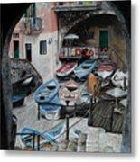 Harbor's Edge In Riomaggiore Metal Print