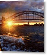 Harbour Bridge Sunset By Kaye Menner Metal Print