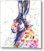 Hare In Grass Metal Print